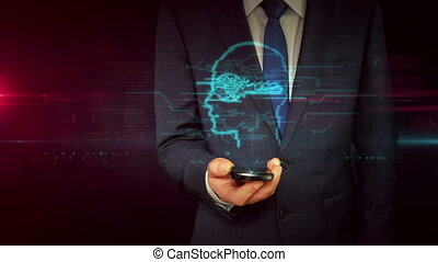 Businessman with smartphone and secret key symbol hologram...
