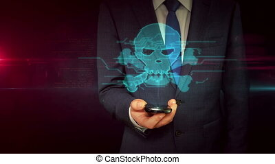 Businessman with smartphone and skull sign hologram concept...