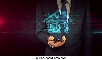 Businessman with smartphone and smart house sign hologram...