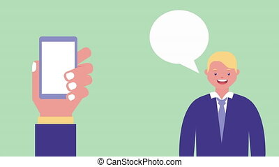 businessman with smartphone and speech bubble , 4k video...