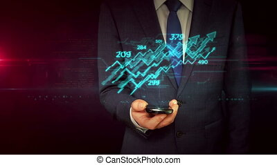 Businessman with smartphone and stock chart hologram concept