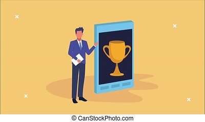 businessman with smartphone and trophy cup animation ,4k ...