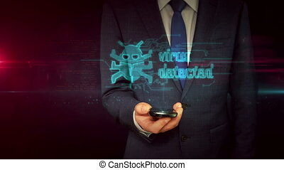 Businessman with smartphone and virus hologram concept -...