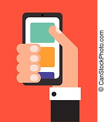 Businessman with smartphone, flat design vector