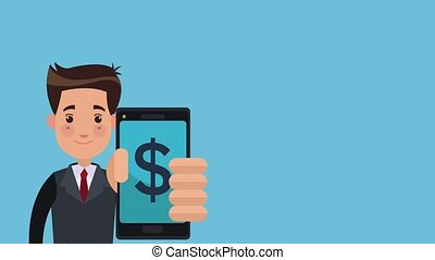 Businessman with smartphone HD animation