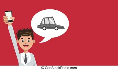 Businessman with smartphone HD animation - Businessman with...