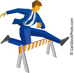 Businessman with smartphone jump over road barrier