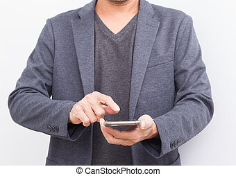 Businessman with smartphone on white background