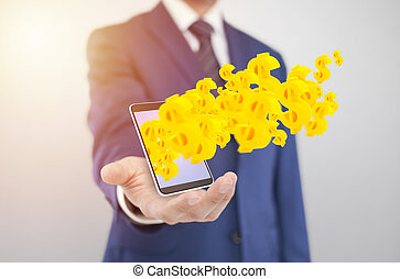 Businessman with smartphone with yellow dollar symbols coming out of the screen