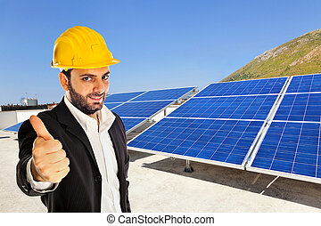 Businessman with solar panel