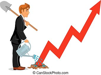 Businessman with spade. Business career growth