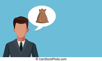 businessman with speech bubble and bitcoin ecommerce animation