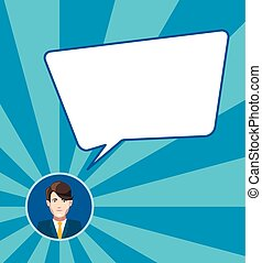Businessman with speech bubble on blue background, flat illustration