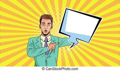 businessman with speech bubble pop art animation
