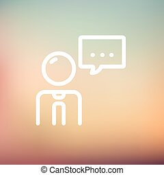 Businessman with speech bubble thin line icon