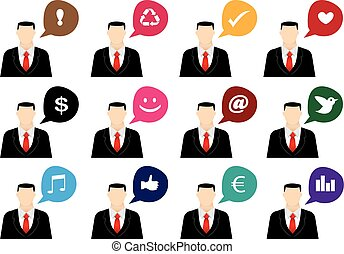 Businessman with Speech Bubble Vector Icon Set
