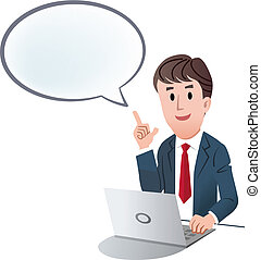 Vector illustration of Businessman indicating up speech bubble with index finger against white background.