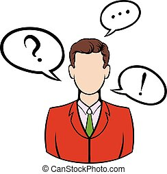 Businessman with speech communication bubbles icon