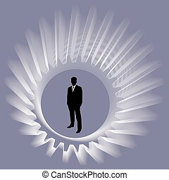 Businessman with spin gear