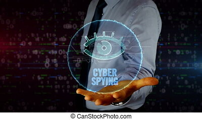 Businessman with spy eye symbol hologram - Man with dynamic...