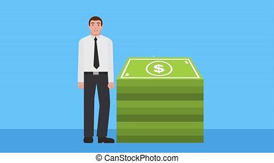 businessman with stacked banknote dollar animation hd