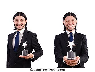 Businessman with star award isolated on white