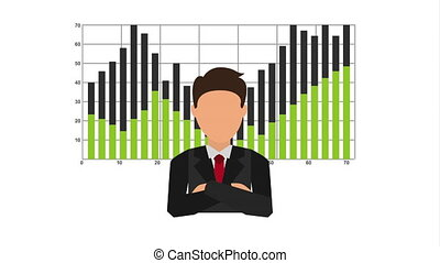businessman with statistics financial graphic