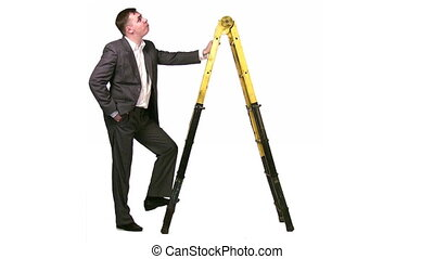 businessman with stepladder