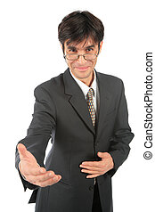 Businessman with stretched hand