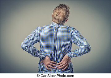 businessman with strong back pain