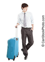 Businessman with suitcase and isolated on white