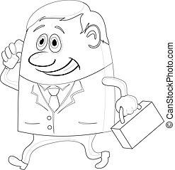 Businessman with suitcase, contour