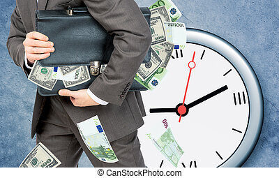 Businessman with suitcase full of money