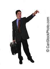 Business abroad - Businessman with suitcase, meaning...