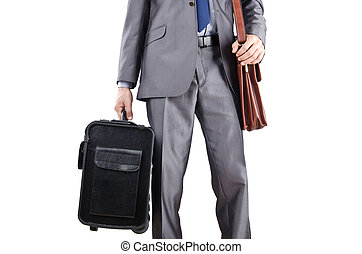 Businessman with suitcase travelling