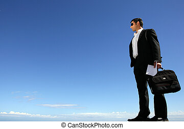 Businessman with sunglasses and briefcase
