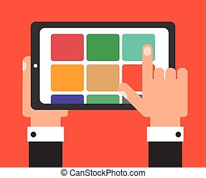 Businessman with tablet, flat design vector