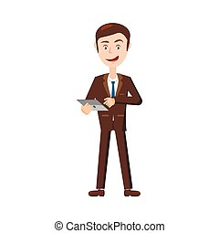 Businessman with tablet icon, cartoon style