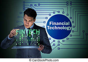 Businessman with tablet in financial technology fintech concept