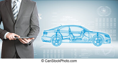 Businessman with tablet pc and high-tech car