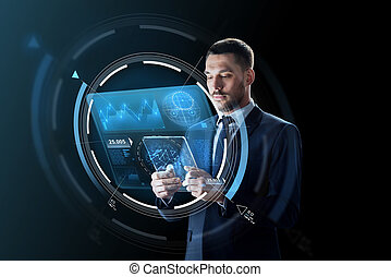 businessman with tablet pc and virtual projection -...