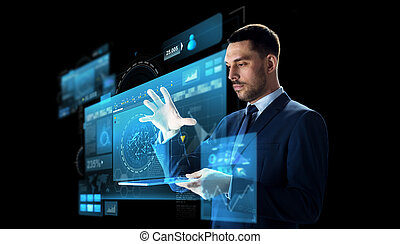 businessman with tablet pc and virtual screen