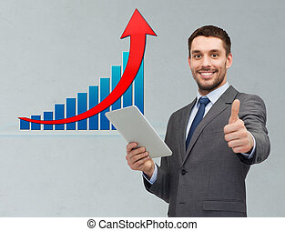 businessman with tablet pc showing thumbs up