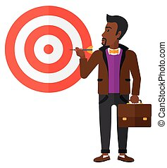 Businessman with target board.