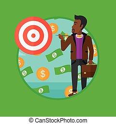 Businessman with target board vector illustration.