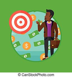 Businessman with target board vector illustration.