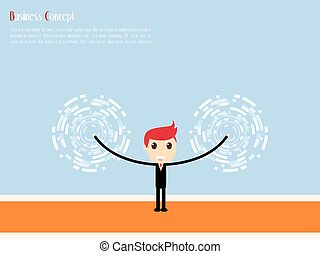 Businessman with Target For success, vector illustration