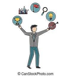 businessman with target trophy bulb diagram success