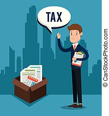 businessman with tax set icons