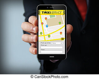 Businessman with taxi app on phone